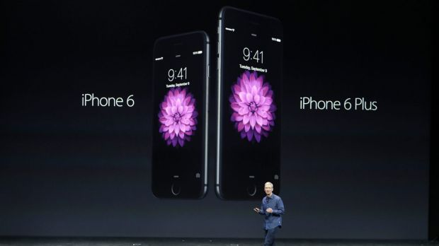 Apple CEO Tim Cook unveils the iPhone 6 and iPhone 6 Plus.