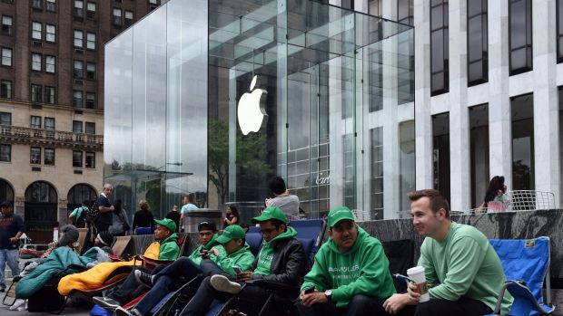 Long wait: The queue outside the Apple Store on Fifth Avenue, New York.
