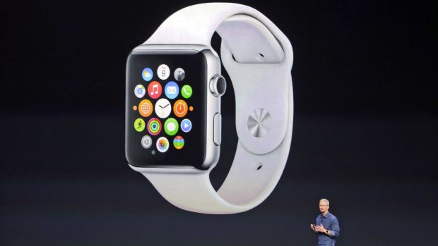 Apple CEO Tim Cook introduces the new Apple Watch.