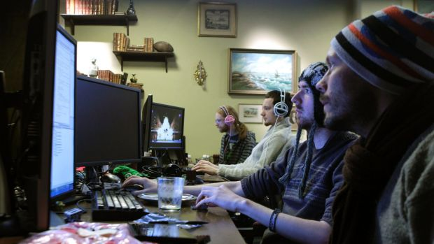 Coders work in the Mojang company office in Stockholm.