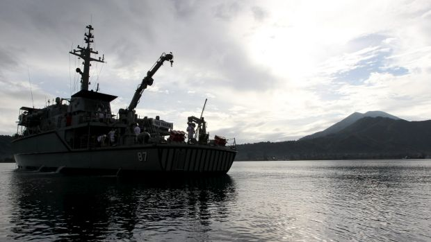 The HMAS Yarra off Rabaul, Papua New Guinea, has been searching for the Australian submarine AE1 that disappeared in ...