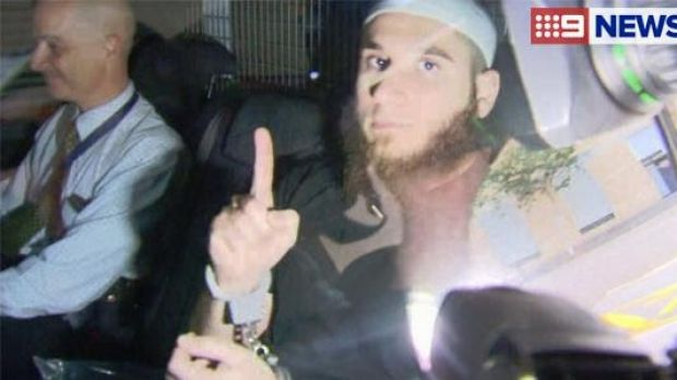 One of the men arrested during a raid on an Islamic store in Logan, south of Brisbane.