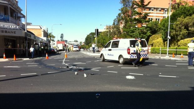 Police at the intersection soon after the collision that claimed Rebekka Meyer's life in September 2014.