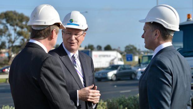 Victorian Premier Denis Napthine talks East West Link with colleagues.