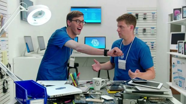 """The Samsung YouTube advertisements portray the mishaps of two """"genius"""" employees in an Apple-like store."""