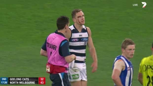 Geelong skipper Joel Selwood was forced to leave the field.