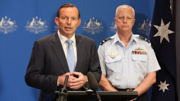 Prime Minister Tony Abbott with Chief of the Defence Force, Air Chief Marshal Mark Binskin.