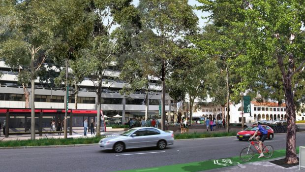 An artist's impression of the proposed Canberra light rail.