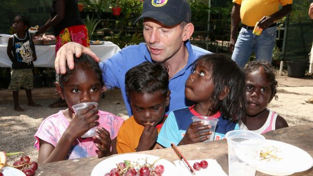 Tony Abbott during a visit to remote East Arnhem Land in 2014.