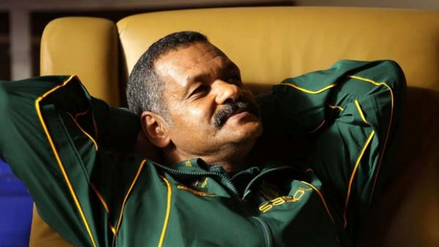 Springboks coach Peter De Villiers relaxes prior to the South African team announcement in Wellington last week.
