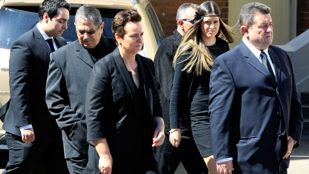 Relatives of the Rozelle blast victims Bianka and Jude O'Brien arrive for the funeral service.