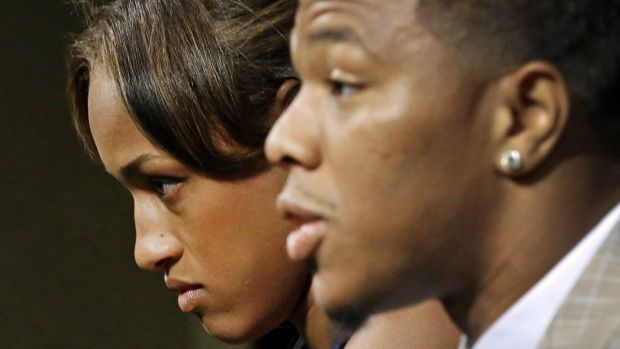 Ray Rice was pictured knocking wife Janay (pictured with Rice) out cold in an Atlantic City casino.
