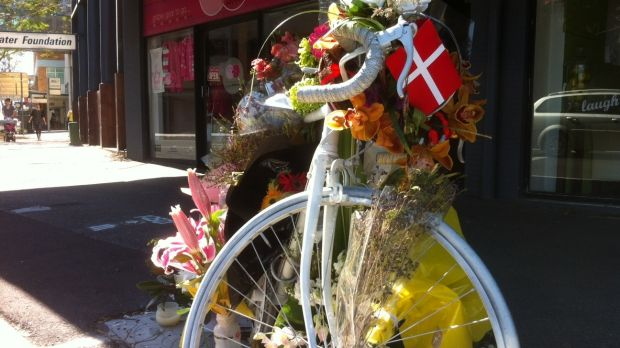 Rebekka Meyer's ghost bike at South Brisbane.