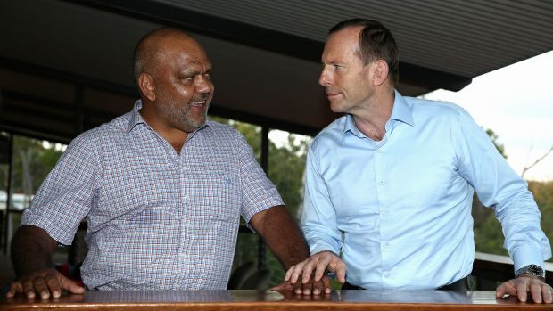 Prime Minister Tony Abbott with Noel Pearson, Chairman of the Cape York Group, during his visit to North East Arnhem ...