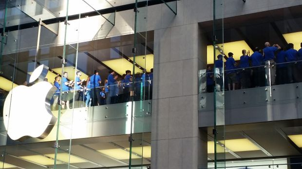 The Apple team gathers for some pre-launch team-building at Sydney's George street store.