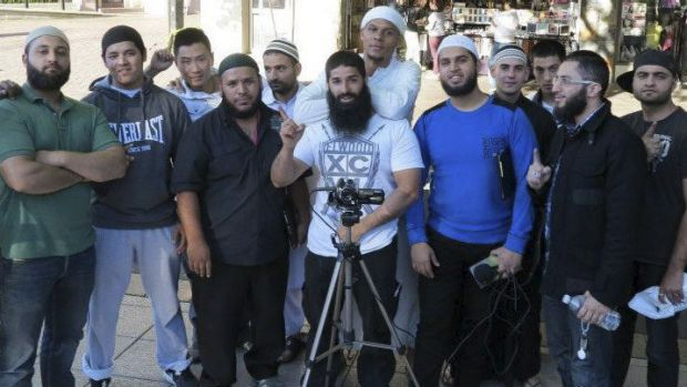Mohammad Ali Baryalei, centre, with members of the Street Dawah movement that Mr Zakhariev was a part of.