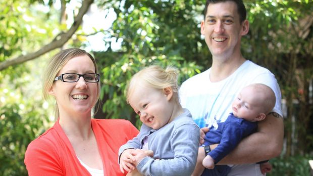 Kate Wild with her children Poppy (aged 2) and William (aged 3 months) and her husband Brendon at their Westleigh home.