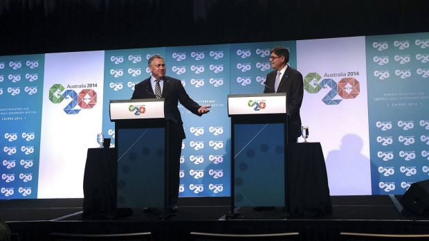 US Treasury Secretary Jack Lew (right) with Treasurer Joe Hockey in Cairns.