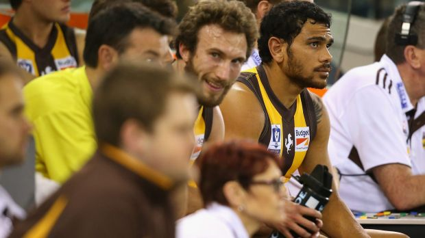 Cyril Rioli sits on the bench during the VFL grand final on Sunday.