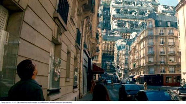 Tell 'em they're dreaming ... Leonardo DiCaprio navigates Christopher Nolan's inverted reality in which the streets of ...
