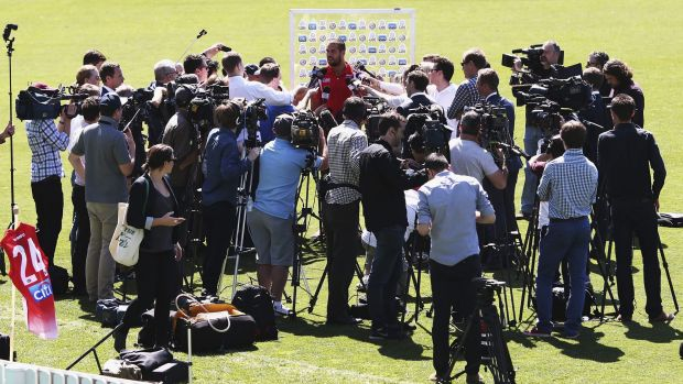 Moths to a flame: Lance Franklin's press conference drew a huge media contingent.