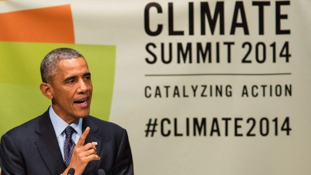 US President Barack Obama speaks at the UN Climate Summit in New York in September.