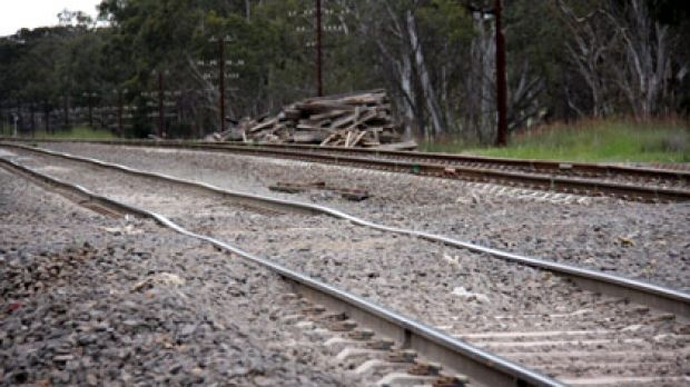 A section of newly-laid track, outside Euroa, that's been affected by mudholes.