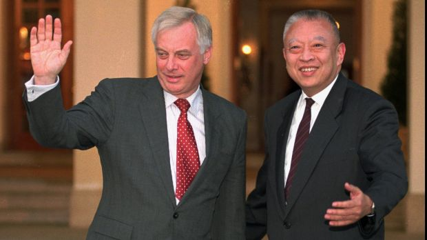 Handover: Former Hong Kong governor Chris Patten, left, and his successor under Chinese rule, Tung Chee-hwa, in 1996.