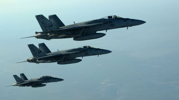 US Navy Super Hornets after receiving fuel over northern Iraq.