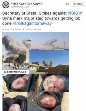 The Think Again Turn Away account reportedly posted photos of dead Islamic State fighters
