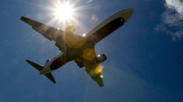 A laser was pointed at a plane on Saturday night.