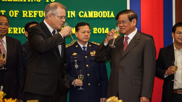 Immigration Minister Scott Morrison and Cambodian Interior Minister Sar Kheng in September.