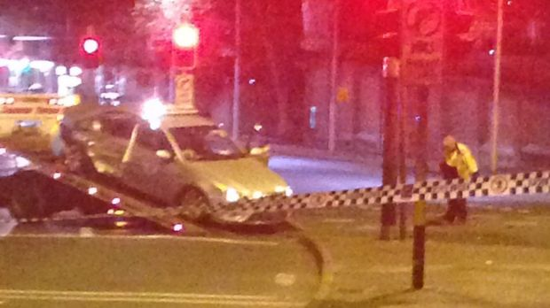 The scene of a crash in Surry Hills on Saturday morning.