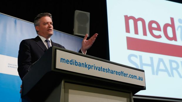 Finance Minister Mathias Cormann  at the official launch of the retail share offer.
