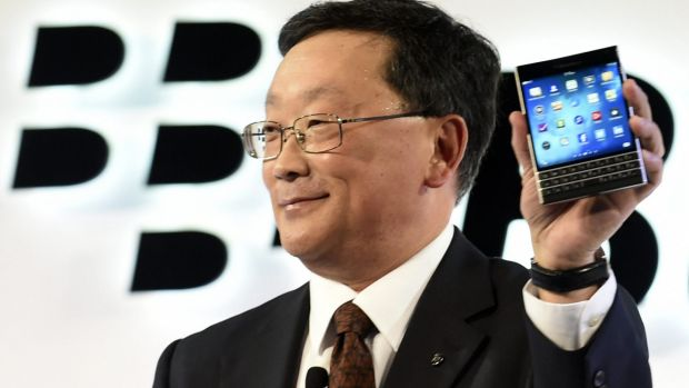 BlackBerry chief executive John Chen introduces the Passport smartphone.