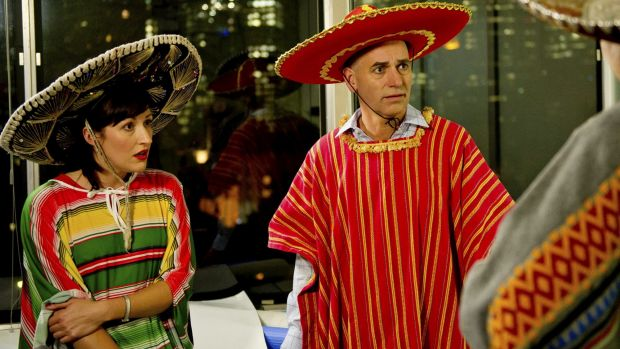Party time: Celia Pacquola (Nat) and Rob Sitch (Tony) from <i>Utopia</i> are the only ones who seem to know what's going on.