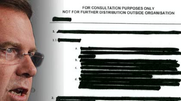 Attorney-General Robert McClelland and part of the censored document.