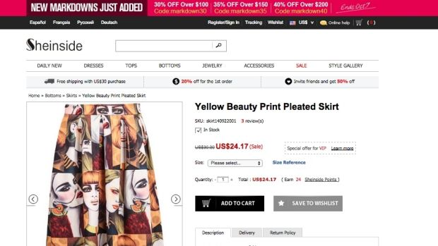 This skirt, for sale on Sheinside, makes use of three of Kelly Thompson's pictures.