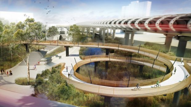 An artist's impression of the proposed bike path at Flemington Bridge station.