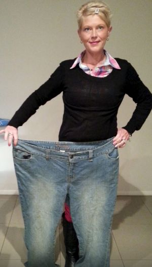 Fiona Wardrup with her pre-weight loss pants.