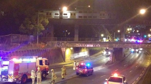 The train stopped on an overpass at Granville.