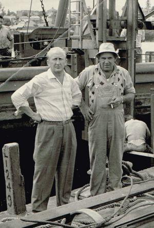 Harry Lange (right), a foreman on the project.