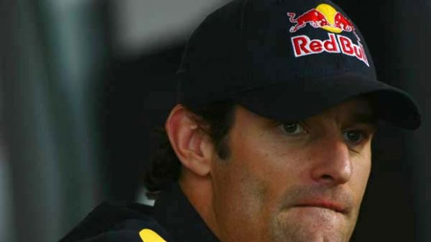 Mark Webber attends the drivers' press conference for the German Grand Prix.