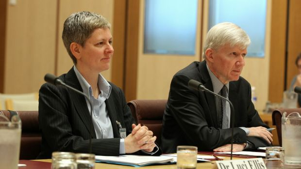 RBA head of financial stability Dr Luci Ellis and  assistant governor  Dr Malcolm Edey,  appear before the Economics ...