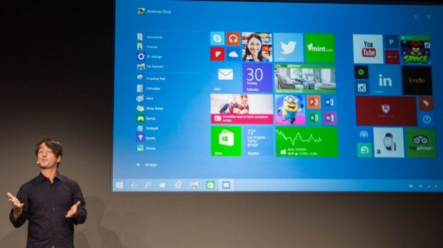 Microsoft's Joe Belifore shows off the first preview of Windows 10 in San Francisco.