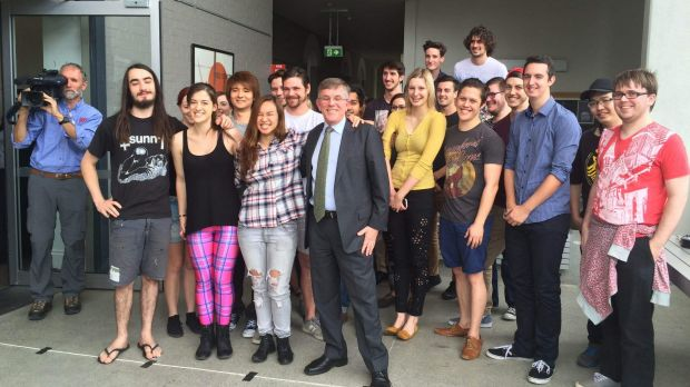 Griffith University film students, pictured with Queensland Arts Minister Ian Walker, hope they will have a chance to be ...