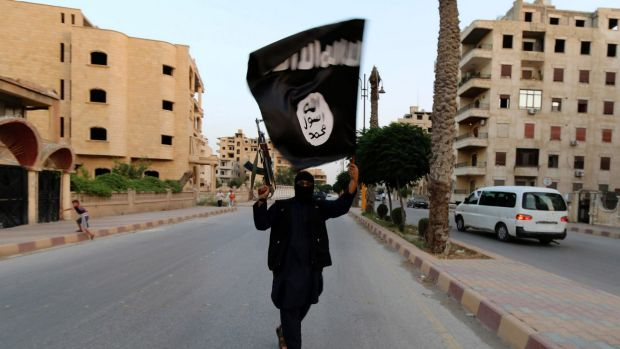 Tactical: A member loyal to the Islamic State in Iraq waves an ISIL flag in Raqqa.