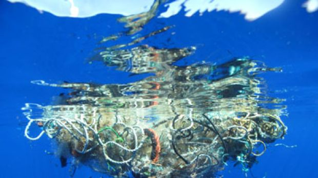 Cruel trap ... many sea creatures could become fatally entangled in this 90-kilo cluster of fishing net, plastic and ...