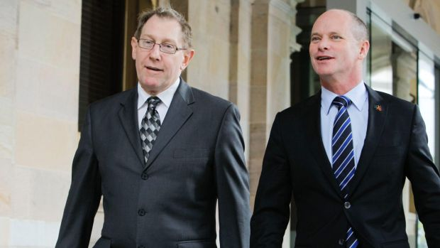 Bruce Flegg walks beside premier Campbell Newman.