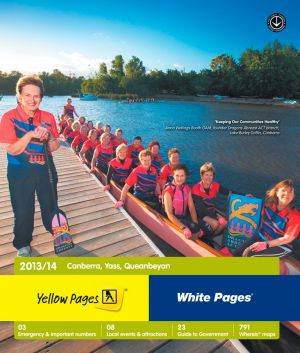 Anna Wellings Booth, left, on the cover of the Canberra region Yellow Pages.